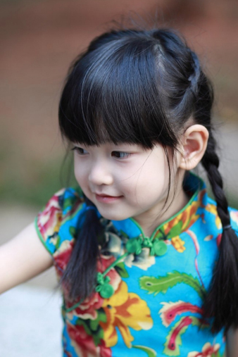 Turquoise Floral Cheongsam for Girls