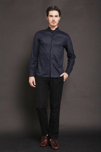 Plain Black Mandarin Shirt