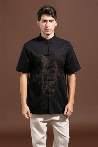 Embroidered Dragon Black Shirt