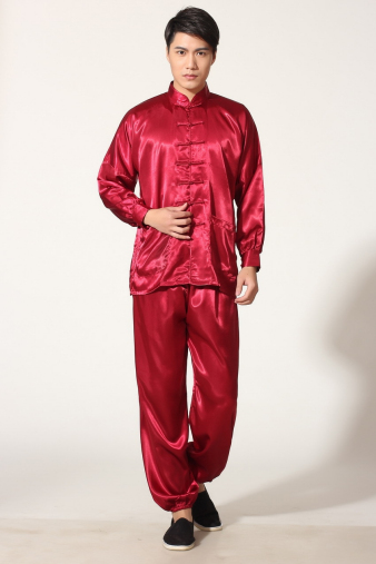 Red Satin Kung Fu Suit