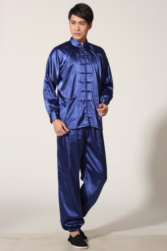 Blue Satin Kung Fu Suit
