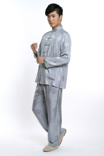 Silver Jacquard Kung Fu Suit
