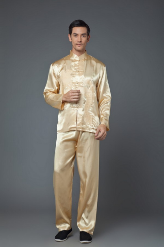 Gold Satin Kung Fu Suit