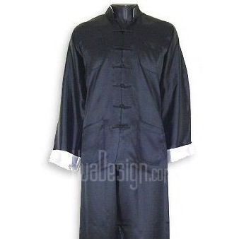 Plain Satin Kung Fu Suit (Black)
