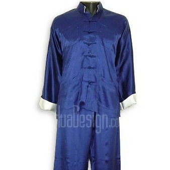 Plain Satin Kung Fu Suit (Blue)